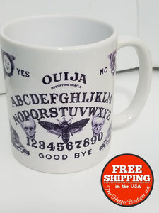 Ouija Board Mug With Bee And Skulls By Orca Coatings White/black - Kitchen