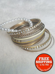 Set Of 11 Womens Gold Tone Bangle Bracelets - Bracelets