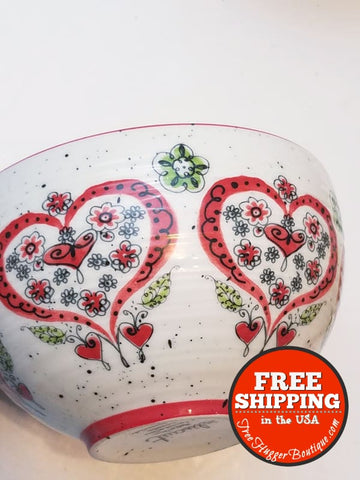 Speckled Bowl W/ Ornate Floral Hearts Inside Out By Biscuit - Kitchen
