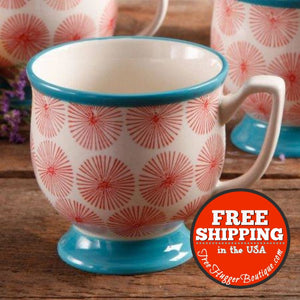 The Pioneer Woman Flea Market Happiness Red/turquoise Decorated Mug - Kitchen