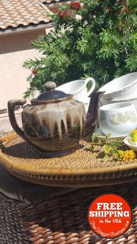 5Pcs Vintage Brown Glazed Tea Pot & 2 Cups With Saucers Set 5Pcs (Please Read...white Mugs Sold Separately) - Home Decor