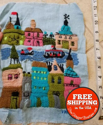 Vintage Handmade Embroidered Town And Canal Scene Danish Inspired Small 12 Inch - Vintage Home Decor