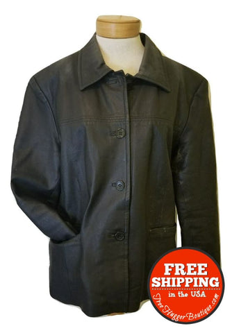 Vintage Mens Xl Black 100% Leather Coat Polyester Lining Waist Length - Vintage Clothing