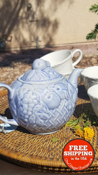 Vintage Periwinkle Baby Blue Teapot By Wade England - Home Decor