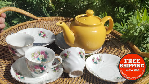 Vintage Rose 7Pc. Tea Set (Teapot Sold Separately) - Home Decor