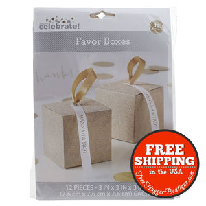 Way To Celebrate Gold Glitter Favor Boxes 12 Count - Wedding