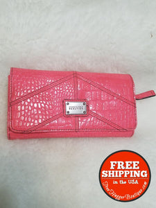 Womens Kenneth Cole Reaction Long Trifold Wallet Coral Pink Faux Croc Style Ub151164 - Wallets