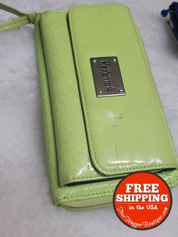 Womens Kenneth Cole Reaction Long Xl Wallet/clutch Lime/yellow-Green Shiny Style 60500 - Wallets