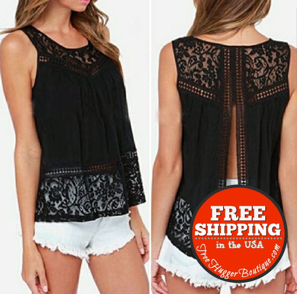 Womens Small (Juniors Large) Open Back Lace Tank - Womens Tops