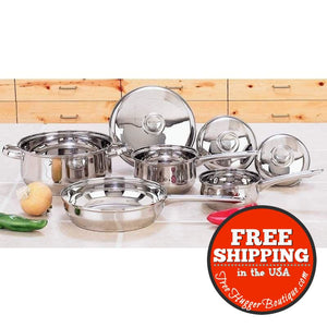 Yorkville 7Pc Stainless Steel Cookware Set Lids With Steam Release Vents - Cookware