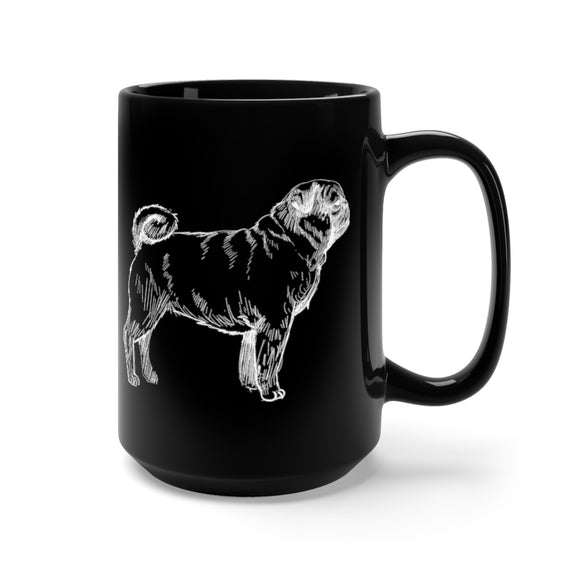 Pug Hand-drawn Black Mug
