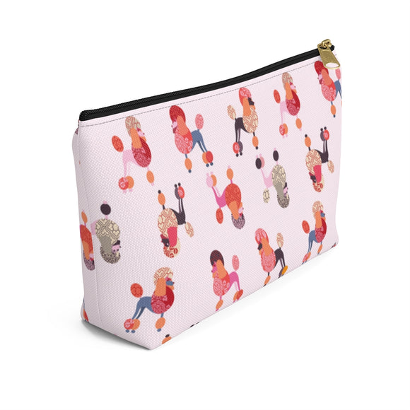 Pink Poodles Accessory Pouch w T-bottom