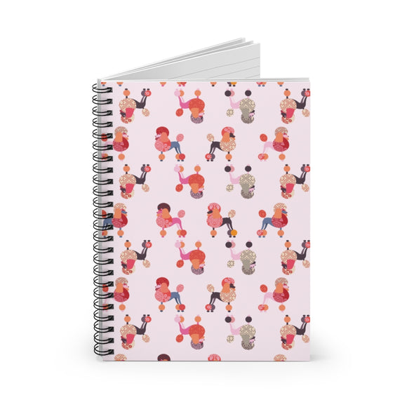 Pink Poodles Spiral Ruled Notebook