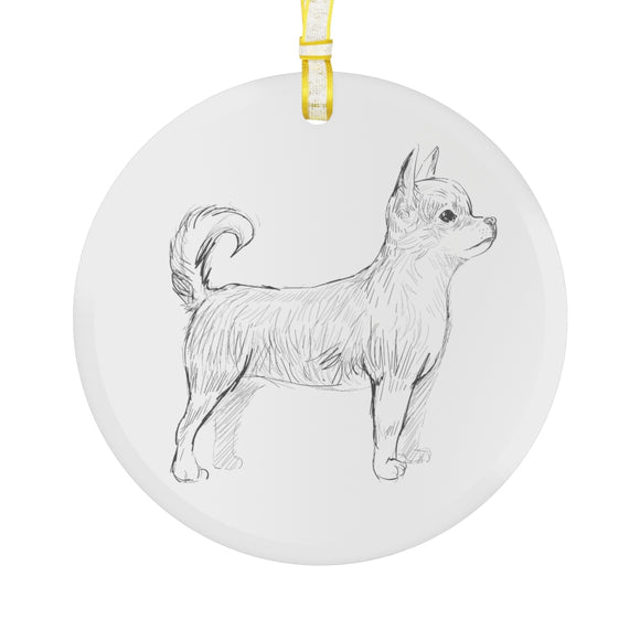 Chihuahua Glass Ornament