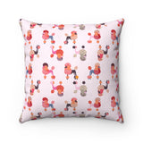 "Pink Poodles 14"" Square Pillow"