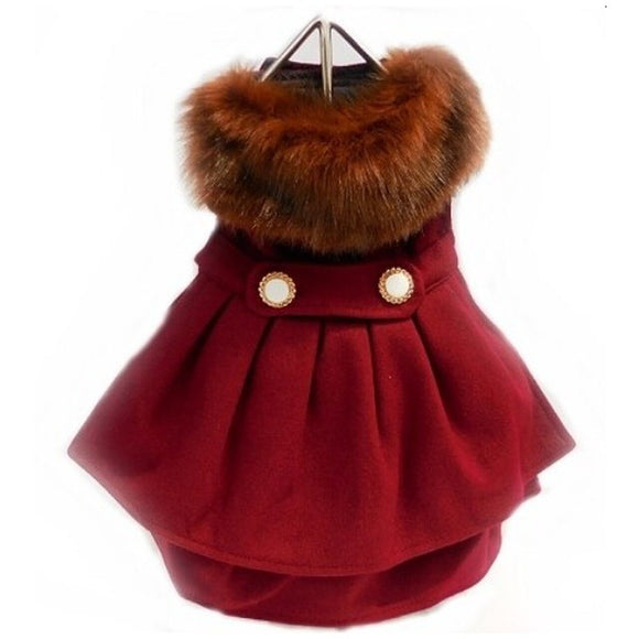 Burgundy Wool and Fur Harness Jacket