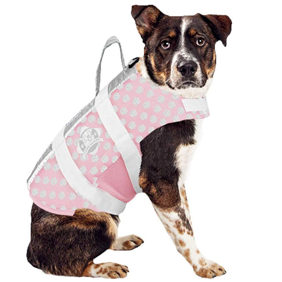 Paws Aboard Pink and Grey Pet Life Vest