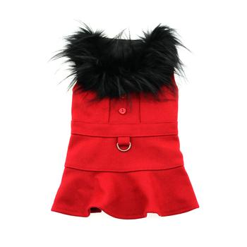 Red Wool and Fur Harness Jacket