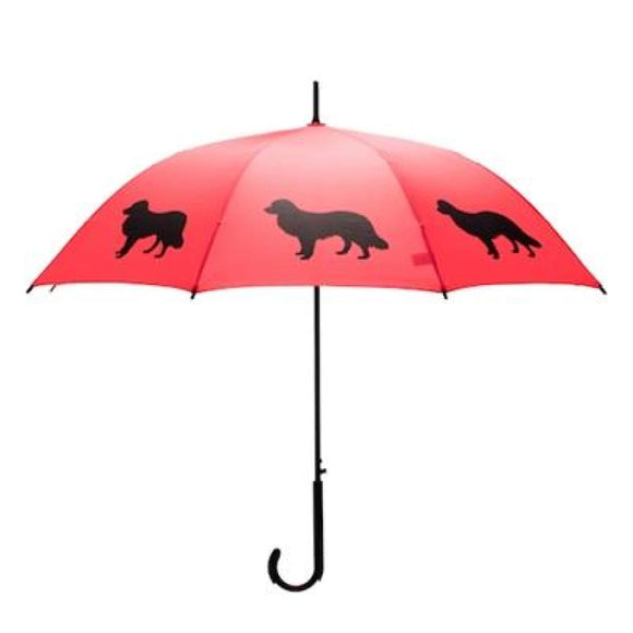 Border Collie Black On Red Classic Umbrella