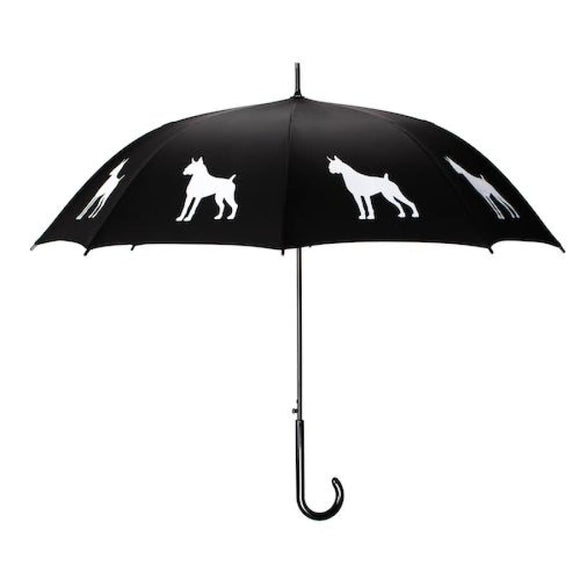 Boxer White On Black Classic Umbrella