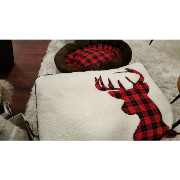 Buffalo Plaid Reindeer Bed - 45X26 Holiday