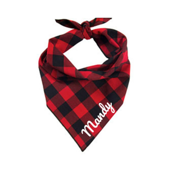 Buffalo Red & Black Plaid Dog Bandana Clothing Accessories