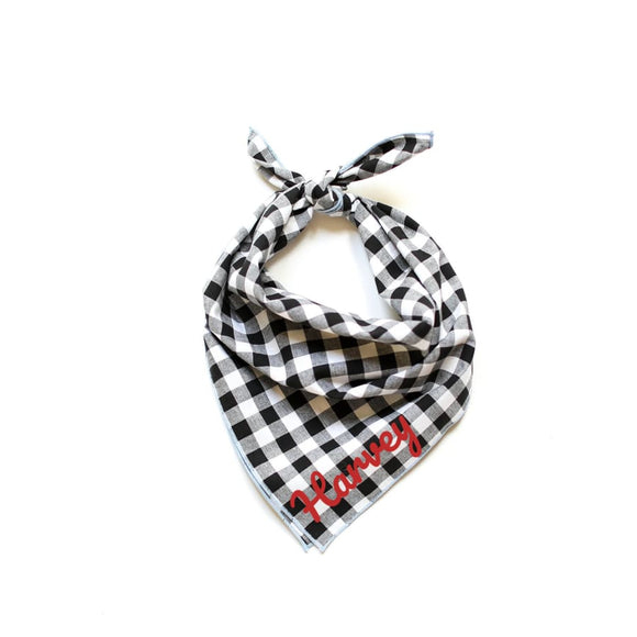 Buffalo White & Black Plaid Bandana Bows And Neckware