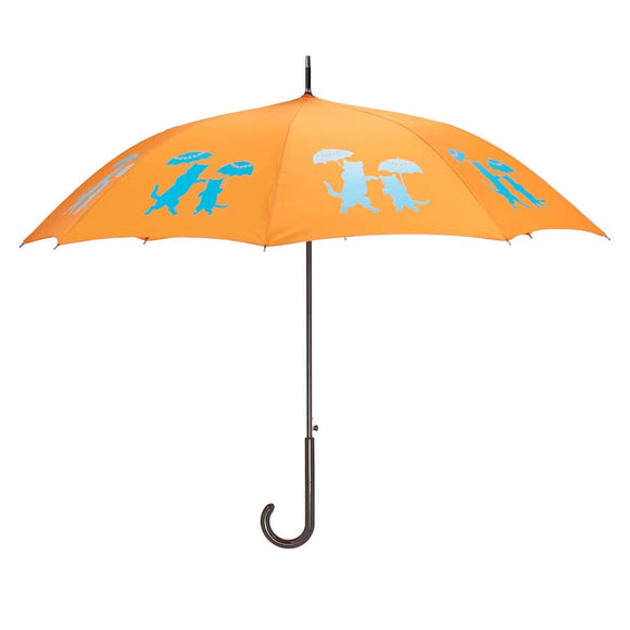 Cats Aqua On Orange Classic Umbrella