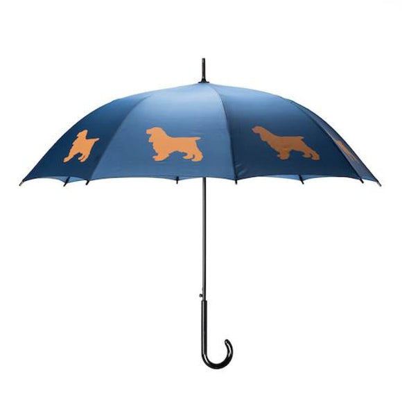 Cocker Spaniel Tan On Navy Blue Classic Umbrella
