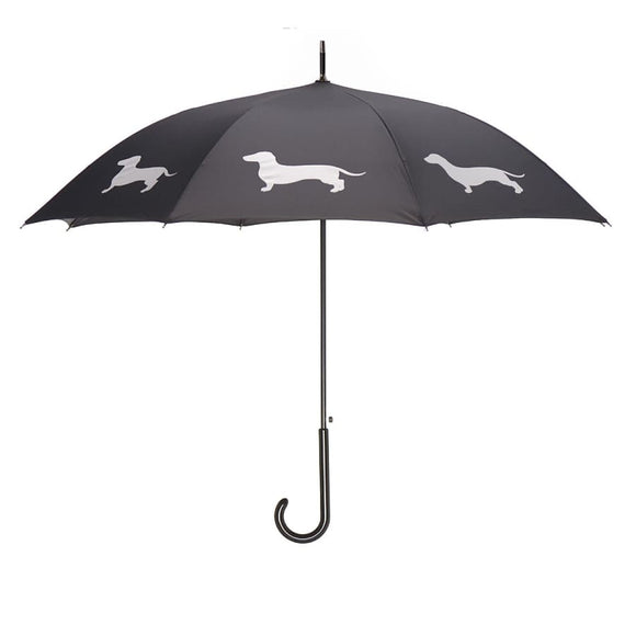 Dachshund White On Black Classic Umbrella