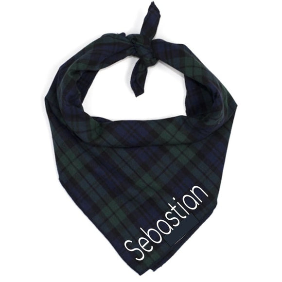 Dark Navy And Green Plaid Bandana Block Font Bows Neckware