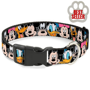 Disney Fab 5 Classic Character Faces Collar And Leash Wide / Large Collars