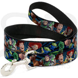 Disney Toy Story Character Faces Collar And Leash Narrow / 4 Feet Long Collars