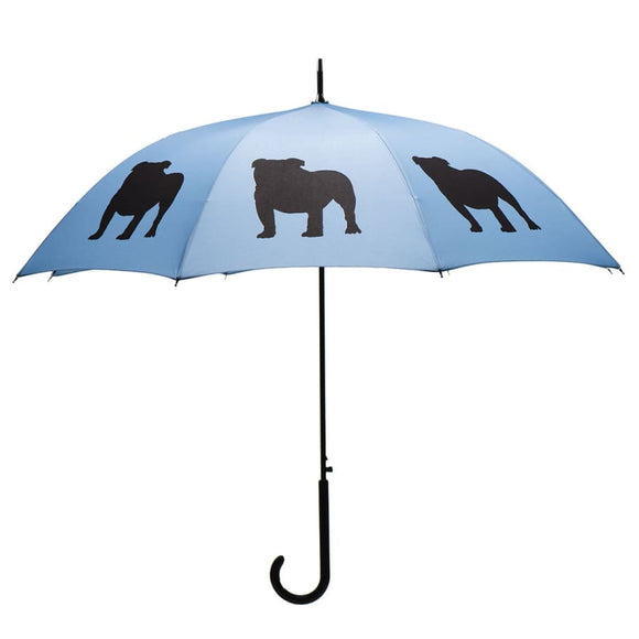 English Bulldog Black On Light Blue Classic Umbrella