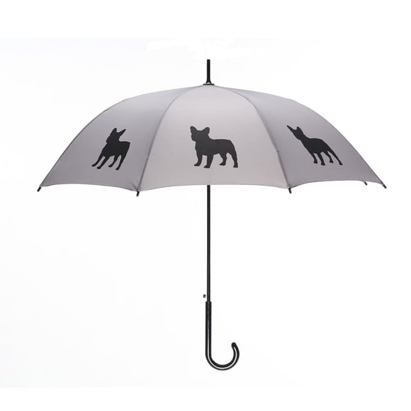 French Bulldog Black On Silver Classic Umbrella