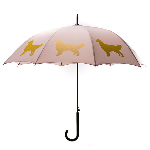 Golden Retriever Gold On Warm Taupe Classic Umbrella