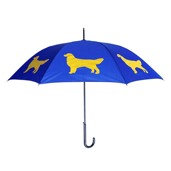 Golden Retriever Yellow On Blue Classic Umbrella