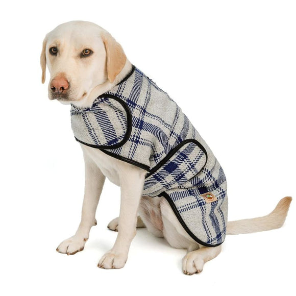 Grey And Blue Plaid Pet Blanket Coat Clothing & Accessories