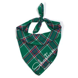 Kelly Plaid Cat And Dog Bandana Cursive Font Bows Neckware