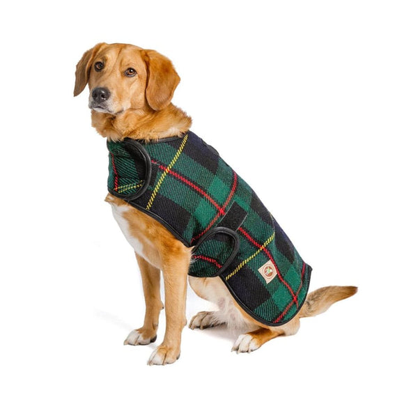 Navy And Green Tartan Pet Blanket Coat Clothing & Accessories
