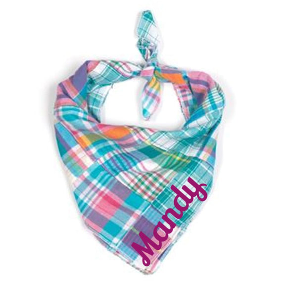 Pastel Madras Bandana Personalized Bows And Neckware
