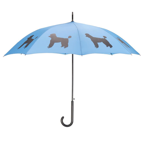 Poodle Black On Blue Classic Umbrella