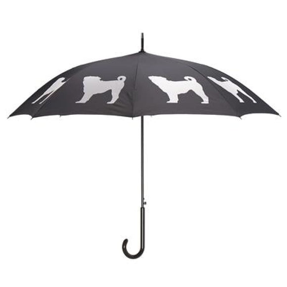 Pug White On Black Classic Umbrella