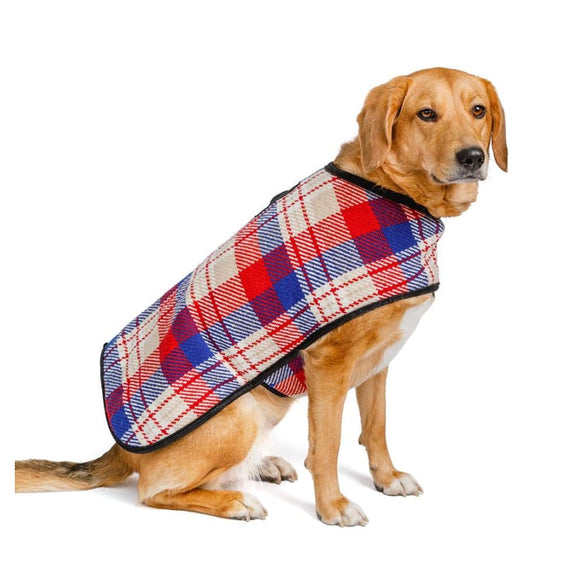 Red And Blue Plaid Pet Blanket Coat Clothing & Accessories