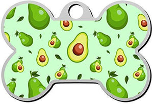 LilithCroft99 Avocados on Blue Dog ID Tag: Bone Shape