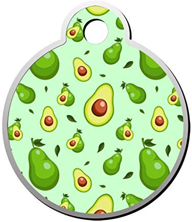 LilithCroft99 Avocados on Green Dog ID Tag: Round