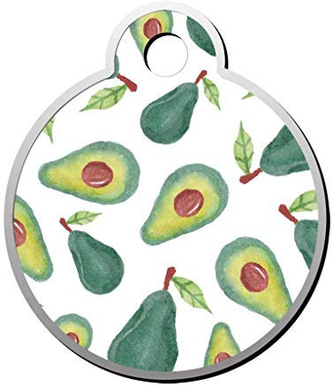 LilithCroft99 Avocados on White Dog ID Tag: Round
