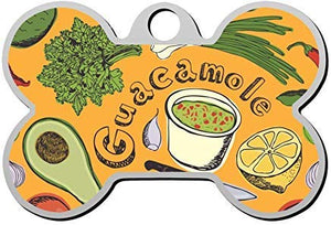 LilithCroft99 Avocado & Guacamole Dog ID Tag: Bone Shape