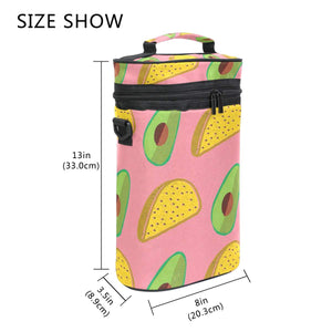 Wine Totes Travel Carrier Cooler Bag with Shoulder Strap Avocado Bread 2 Bottle Picnic Cooler Bag with Insulated Neoprene Leakproof Liner,Water Drinks Beer Lunch Bag for Grocery,Camping