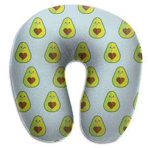 Avocado Heart Seed Memory Foam Travel Neck Pillow